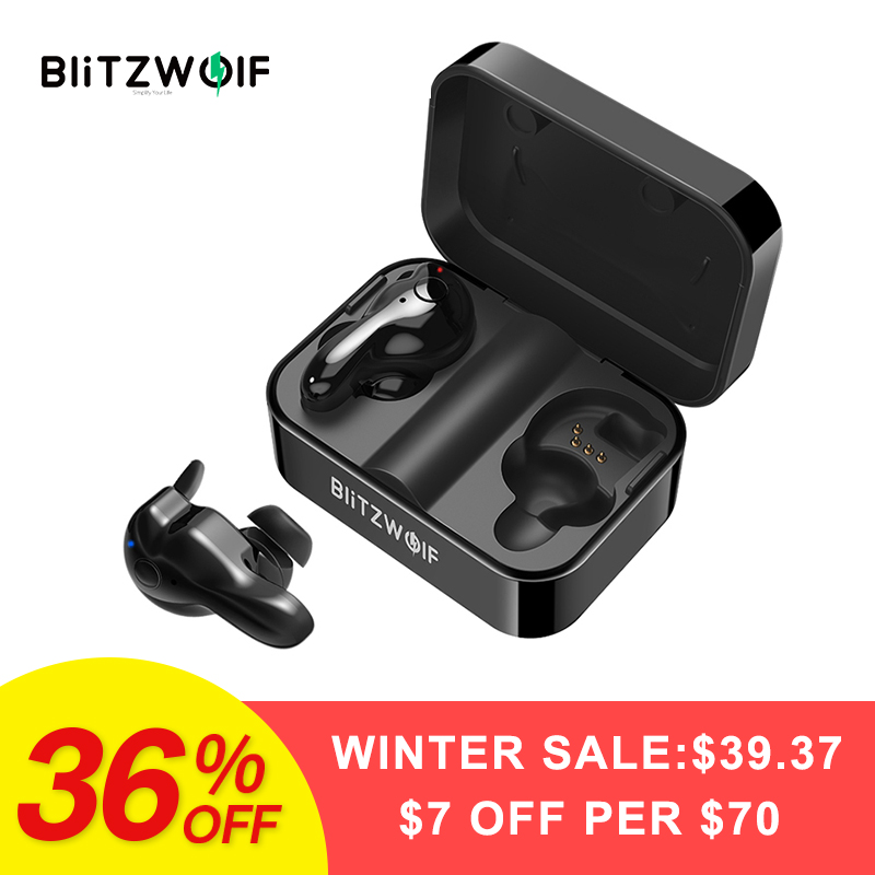 Blitzwolf BW-FYE1 Bluetooth V5.0 СПЦ True Беспроводной спортивные наушники СПЦ Наушники Hi-Fi стерео двойной микрофон ж/зарядки окно
