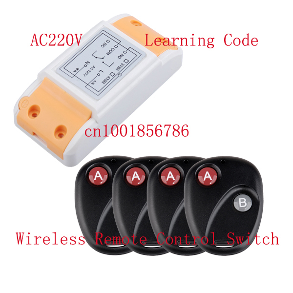 RF wireless remote control Radio Controllers/Switch #1 Receiver&4 Transmitter 220V 10A Learning code output way adjustable раковина блент 800 д белая акватон 1a709231bl010