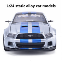 1:24 static alloy car models, high simulation model Mustang, metal diecasts, puzzle toy vehicles, freewheeling, free shipping