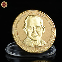 WR Festival Souvenir Gifts Thailand Bhumibol Adulyadej Commemorative Metal Coins Art Ornament 24k 999.9 Gold Plated Gift Coin