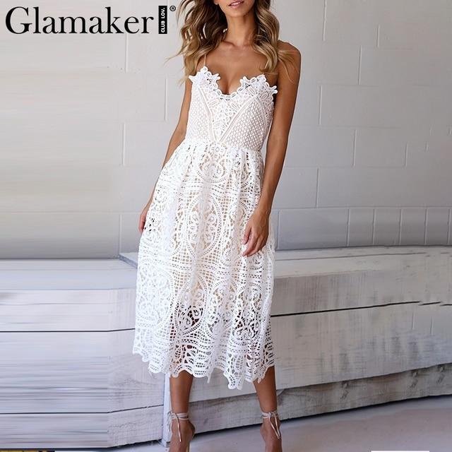 Glamaker White lace summer dress Women hollow out v neck sexy dress sundress vestidos Female loose beach dress evening party