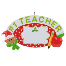 #1 Teacher 2015 Personalized Polyresin Christmas Ornament as Handcraft Souvenir for teacher gift or home decor