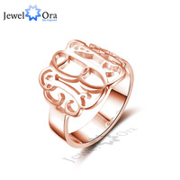 DIY Hollow Engrave Name Ring Personalized 925 Sterling Silver Monogram Ring Unique Christmas Gift For Girls