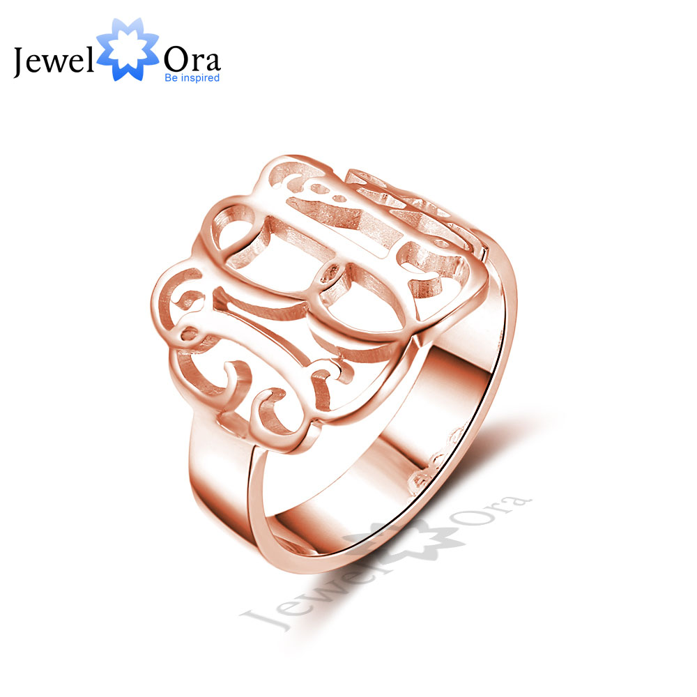 DIY Hollow Name Ring Personalized 925 Sterling Silver Monogram Ring Unique Christmas Gift For Girls (JewelOra RI102314)