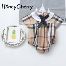 2017 Summer Children's Clothing To Climb The Baby Wearing A New Striped Plaid Shirt Baby Girl Clothes Bodysuit For Baby