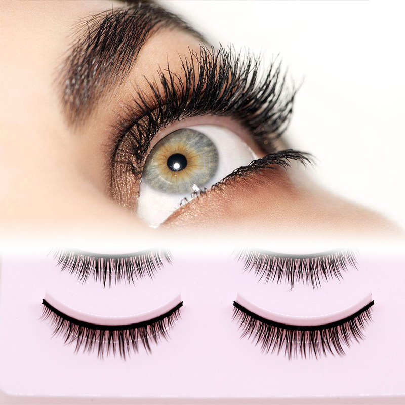 Image 2 - 5 Pairs New 3D Mink Popular Natural Short Cross False Eyelashes Daily eye lashes Girls Makeup Necessaries eyelashes maquiagem-in False Eyelashes from Beauty & Health