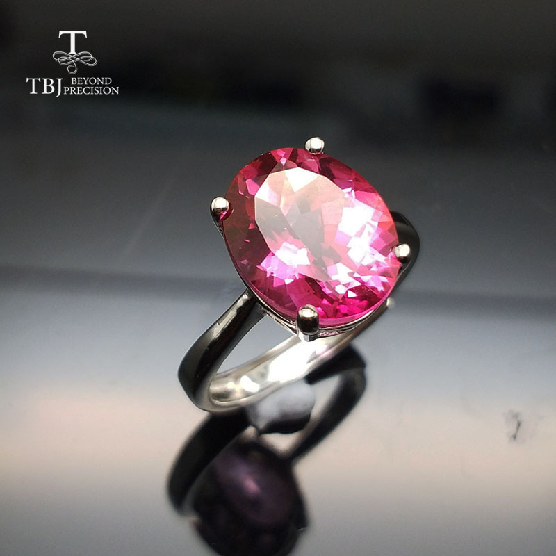 TBJ,Big size 5.5ct pink topaz women ring in 925 silver gemstone jewelry simple and roman ...