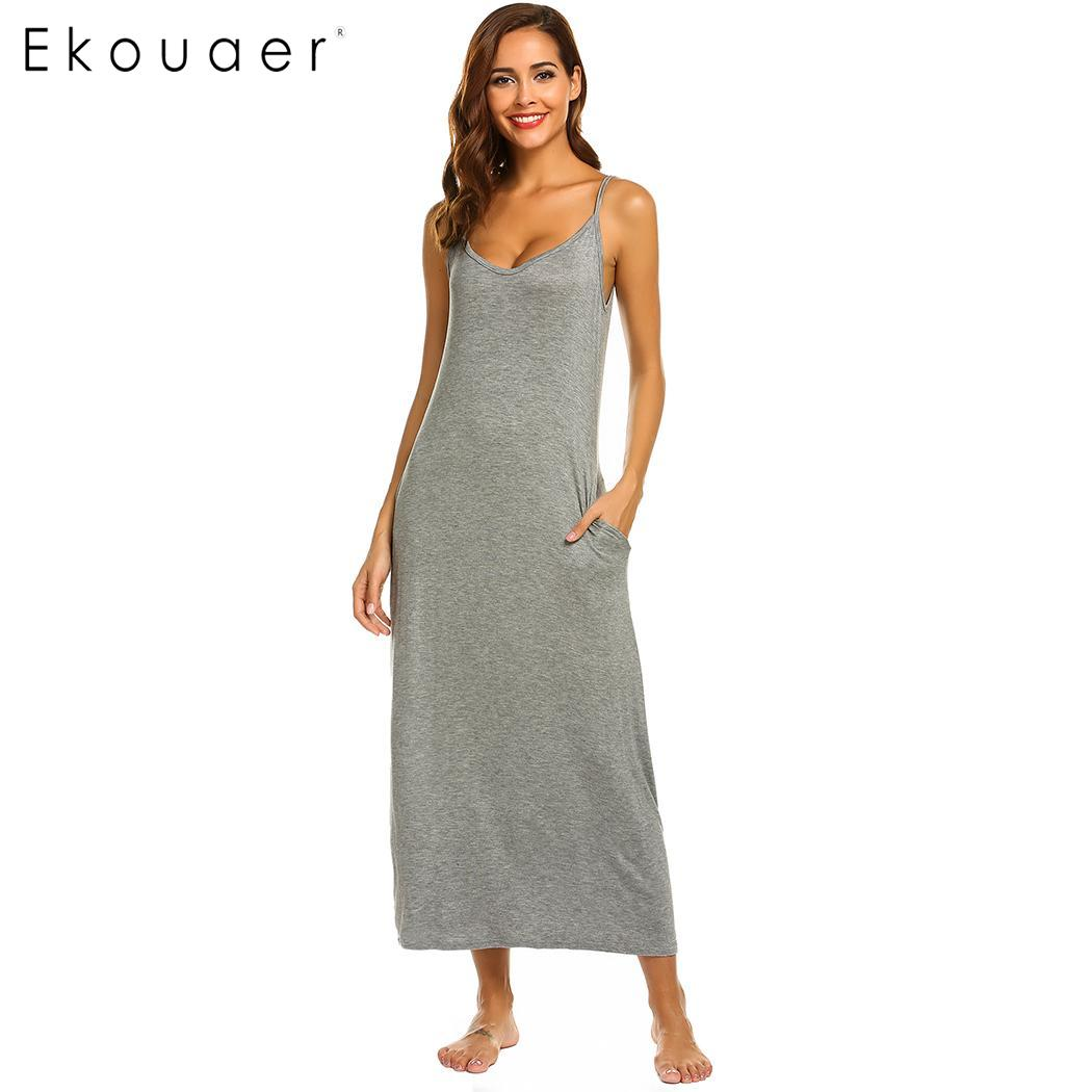 a9688ee942bcc1b Ekouaer женская ночная рубашка сексуальная ночная рубашка регулируемый  ремень спагетти одноцветное Ночное платье леди длинное платье для сна .
