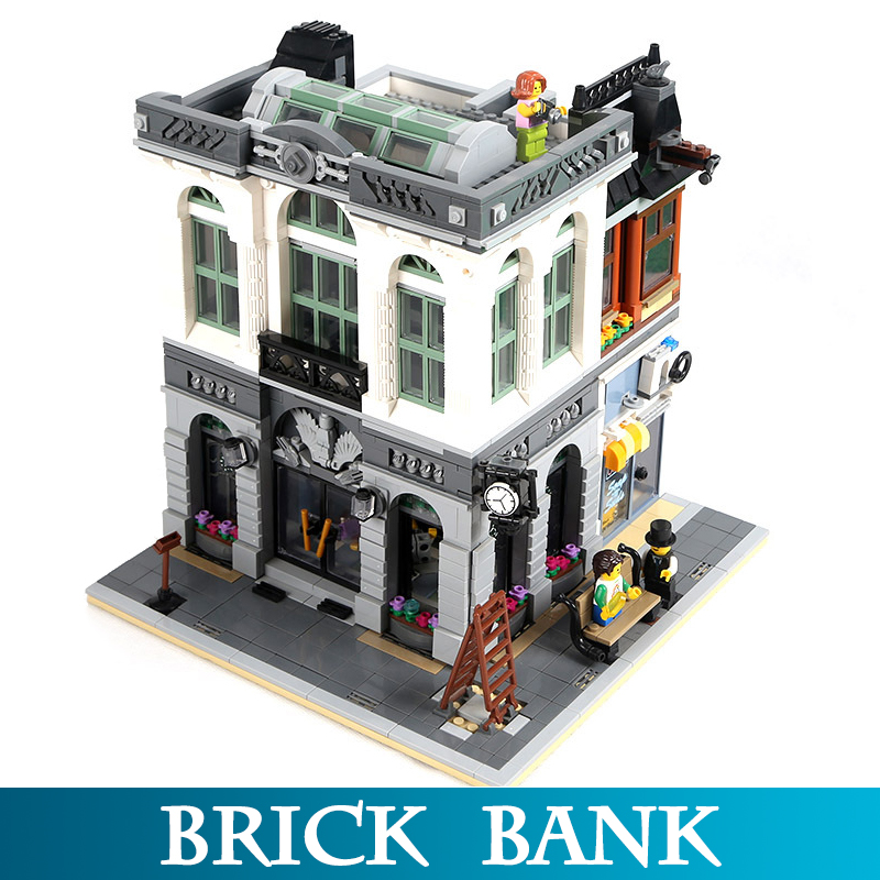 City Street Series 15001 2413pcs Brick Bank Model Building Blocks Toys Compatible legoINGS 10251 Assembly Blocks Toys For Boy