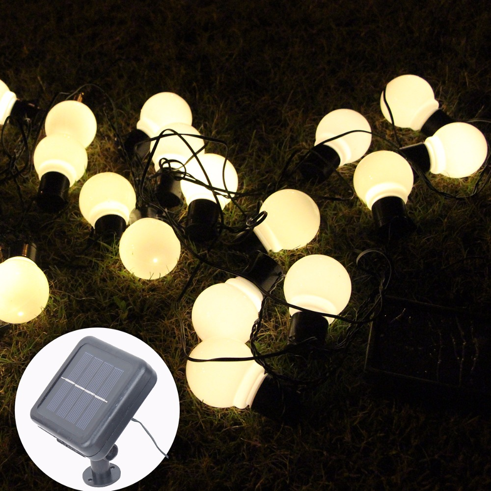 8M 20 LEDs Solar Lamps String Fairy Light Solar Light Festoon Globe Ball String Light Garland Garden Party Decor Waterproof