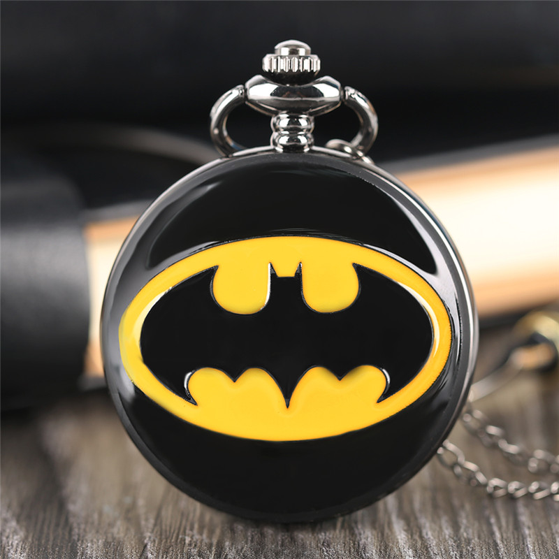 Classic Batman Logo Pocket Watch Black Smooth Cover Pendant Chain Superhero Comic Children Watch Simple Stylish Montre Enfant