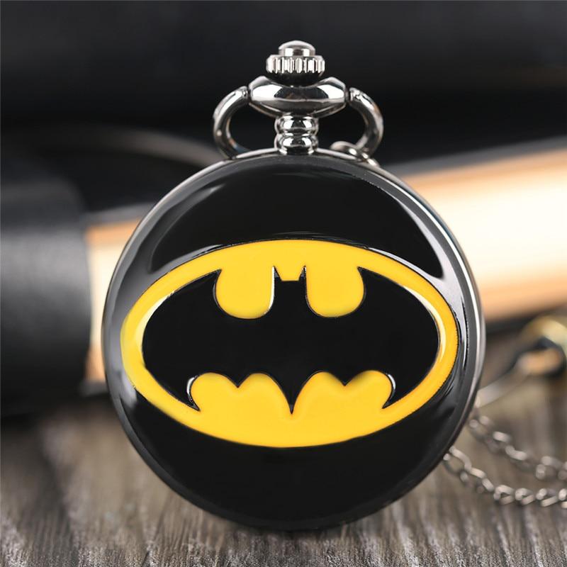 Classic Batman Logo Pocket Watch Black Smooth Cover Pendant Chain Superhero Comic Children Watch Simple Stylish Montre Enfant