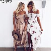 Beach Summer Dresses Boho Style Long Dress Women Off Shoulder Floral Print Vintage Chiffon White Maxi