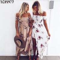 Beach Summer Dresses Boho Style Long Dress Women Off Shoulder Floral Print Vintage Chiffon White Maxi