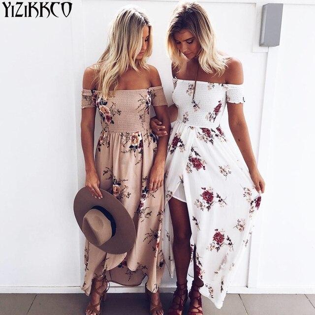 Плюс Размеры Boho Стиль длинное платье Для женщин с открытыми плечами пляжные летние платья Цветочный принт Винтаж шифон Белый Макси платье vestidos