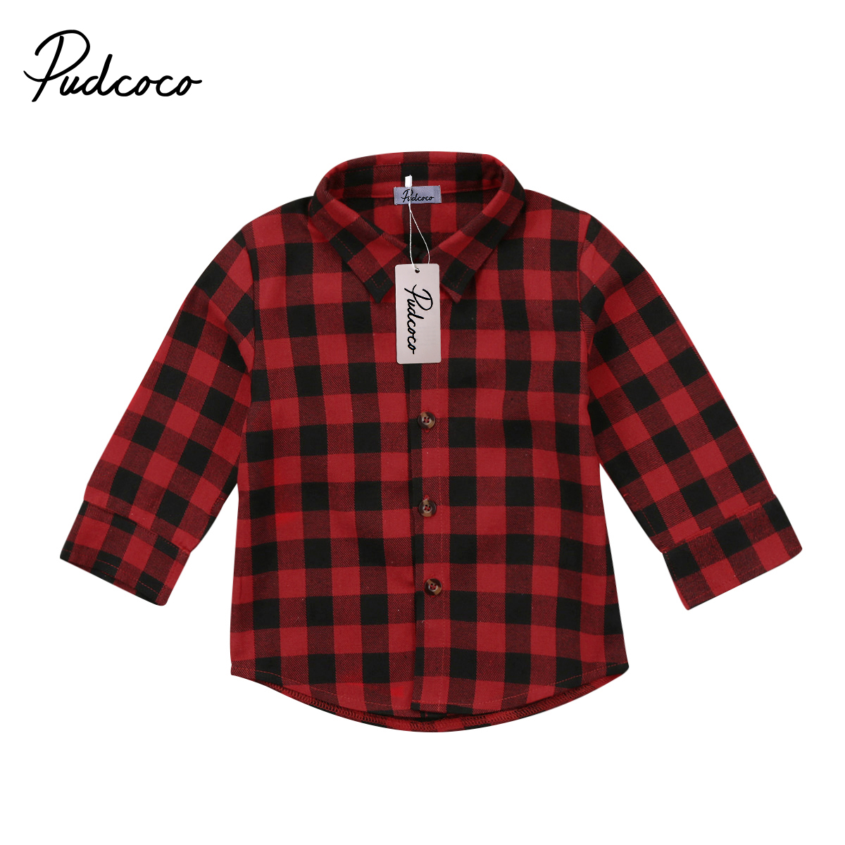 Fashion Toddler Kids Baby Boys Girls Red Black Plaid Tops Casual