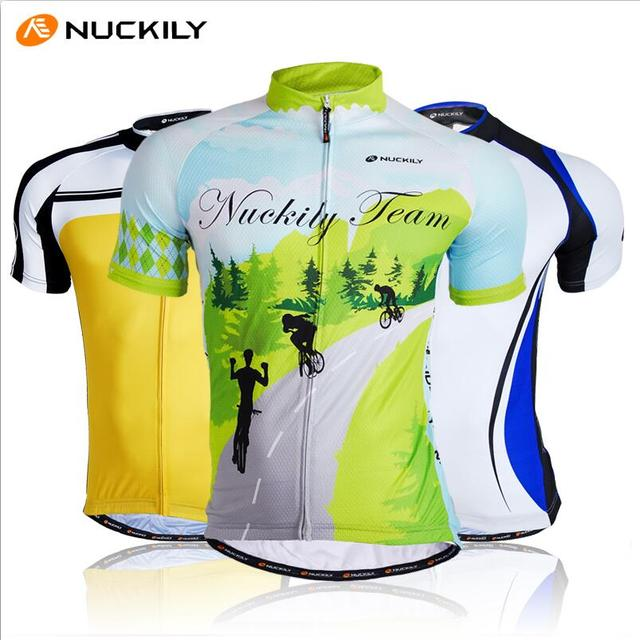2790b7d5a NUCKILY Men s Short Sleeve Cycling Jersey Quick Dry Forest Bike Clothing  Bicycle Top Shirts Green Color