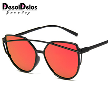 DesolDelos 2019 New Sexy Ladies Cat Eye Sunglasses Women Fashion Clear Eyewear Metal Frame Sun Glasses For Female UV400