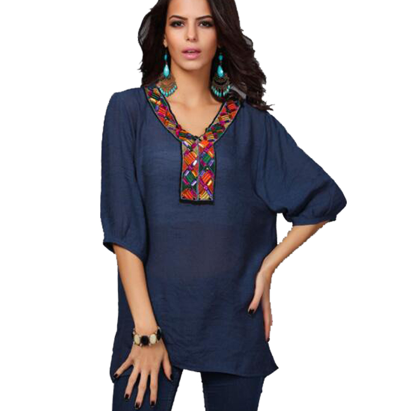 Women Blouse Shirt Half Sleeve Casual Embroidery Shirts O neck Solid Cotton Linen Blouse ...
