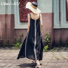 Ubei New vintage v-neck loose halter chiffon dress summer women Elegant beach vacation long black