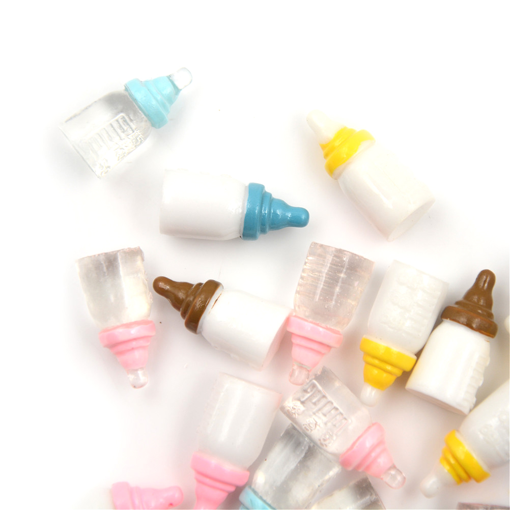 5PCS 1:12 Scale Cute Bottle Simulation Mini Milk Bottle DIY Dollhouse Miniature Accessory Resin Crafts 10*22mm Random Color