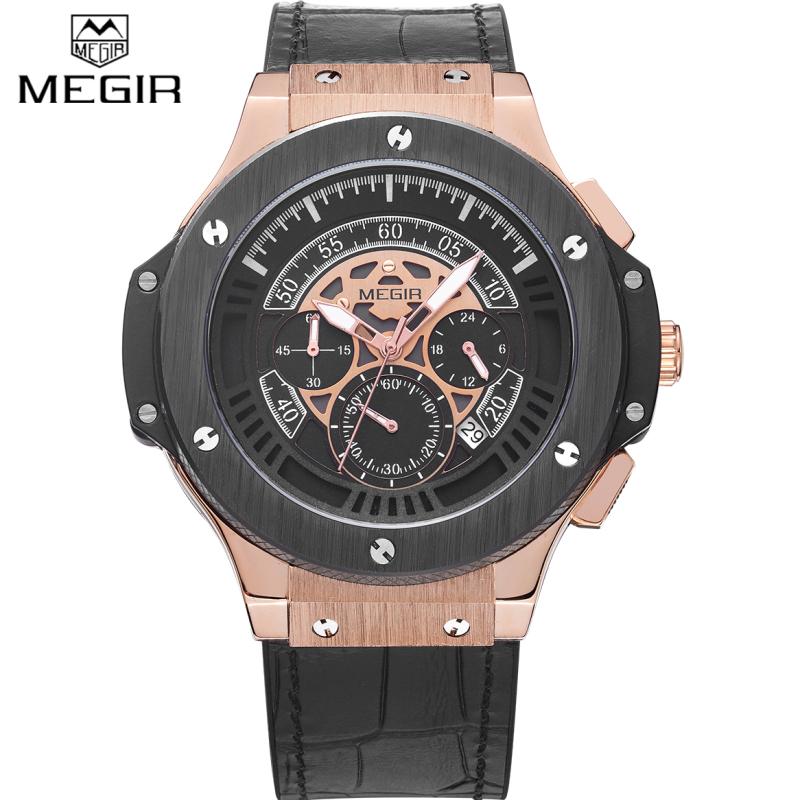 2016 MEGIR Watches Men Luxury Brand Big Dial Quartz Wrist Watch Male Sports Army Military Watches Gold Chronograph Clock man top brand luxury chronograph men sports watches stainless steel quartz watch men army military wrist watch male mini focus clock