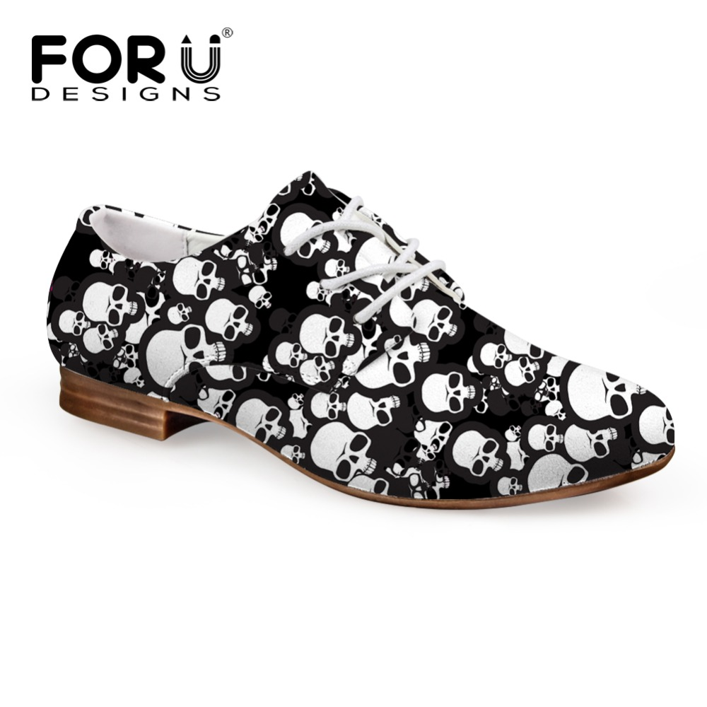 FORUDESIGNS British Style Oxford Shoes for Women Printing Skull Women Soft Flats Shoes Vintage Ladies Shoes Casual Oxford ShoesFORUDESIGNS British Style Oxford Shoes for Women Printing Skull Women Soft Flats Shoes Vintage Ladies Shoes Casual Oxford Shoes