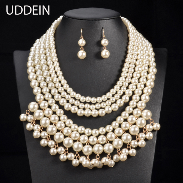 Uddein pearl pendant tassel exaggerate statement choker necklace uddein pearl pendant tassel exaggerate statement choker necklace bridal wedding jewelry sets vintage pearl african bead aloadofball Images