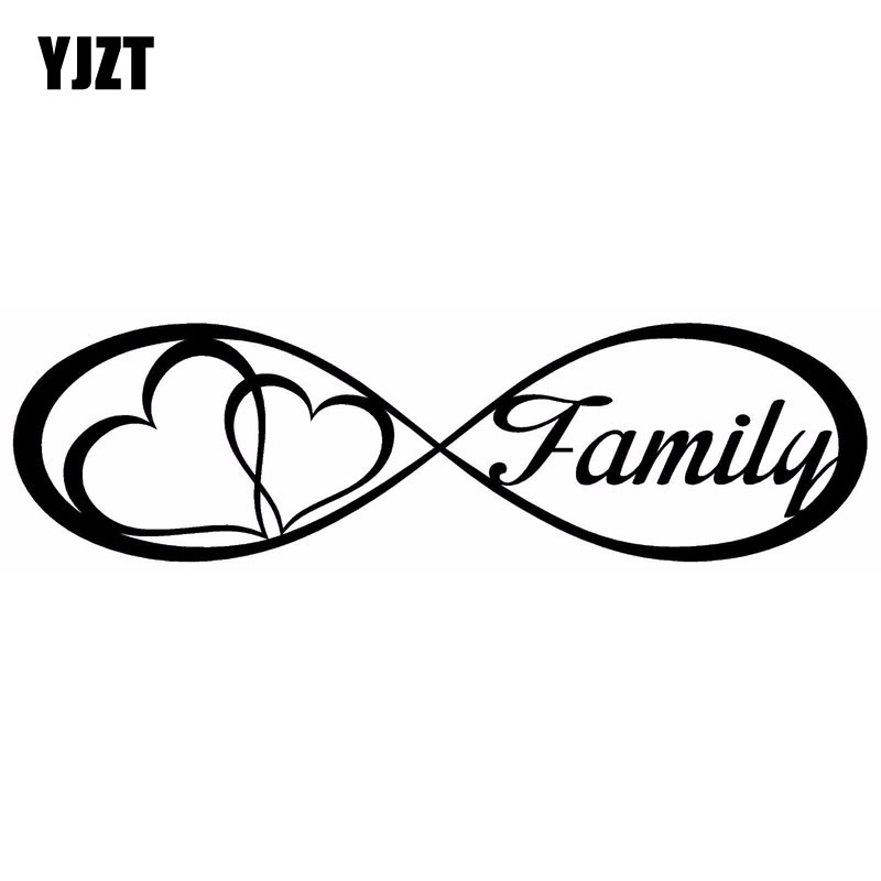 YJZT 20X5.6CM FAMILY Love Heart Forever Symbol Vinyl Decals Car Sticker Car-styling S8-0177