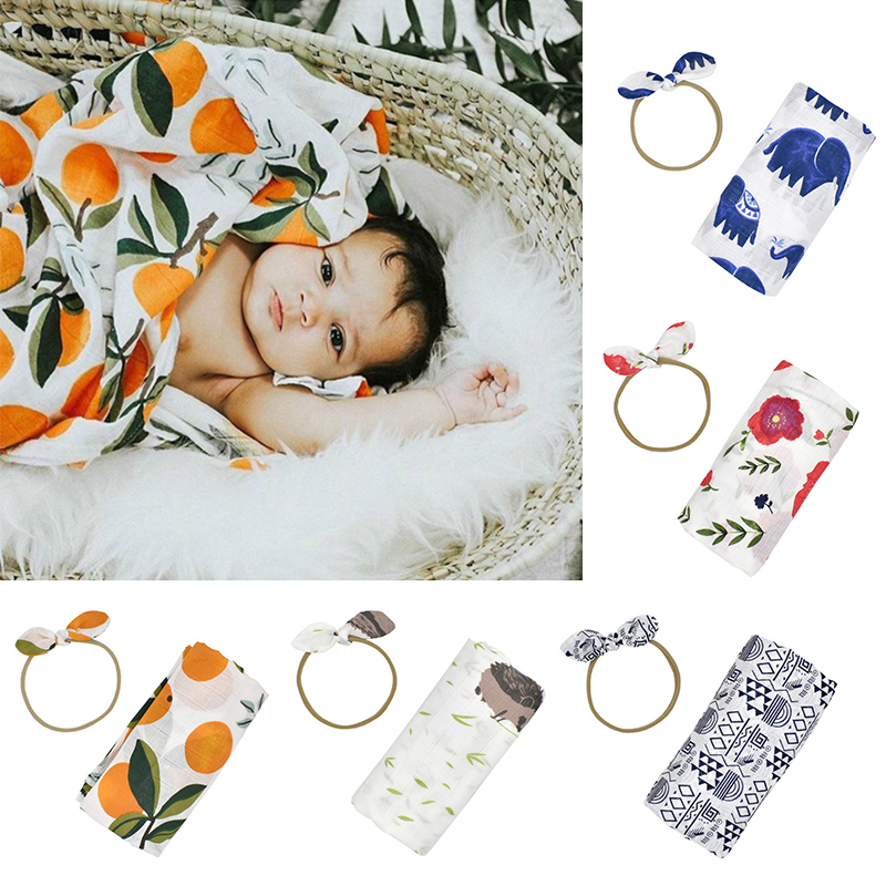 Baby Hair Band +100% Cotton Spring Summer Baby Blankets100*110cm Set Cute Photography Newborn Infant Gauze Both Towel Blankets