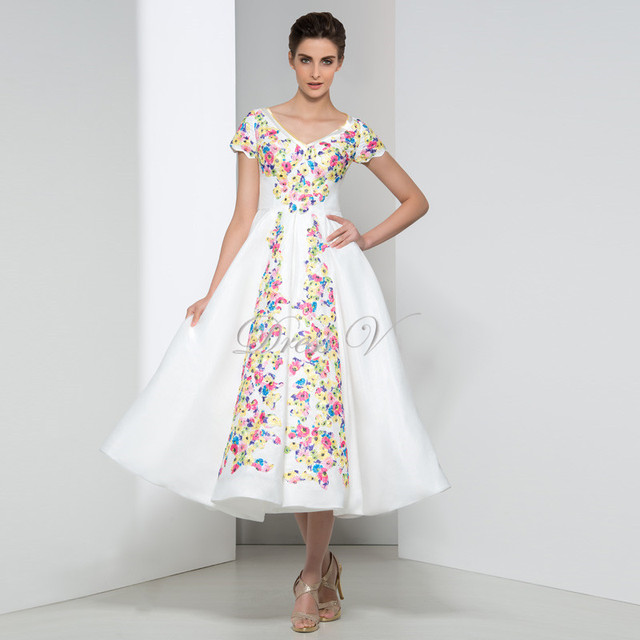 Real Photo Designer Kleider Tee Länge Weiß Abendkleider mit Kurzen ...