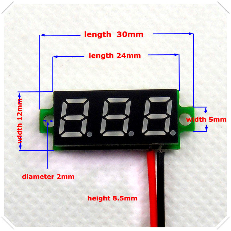 rd 0 28 mini digital voltmeter dc 3 50 30v 2 wires vehicles motor rh aliexpress com wiring a digital ac voltmeter 3 wire digital voltmeter wiring