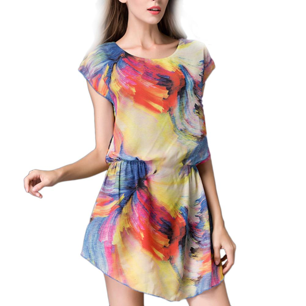 European And American Women Dress Round Neck Style Large Size Elegant Short-sleeved Chiffon Shirt Print Dress Female