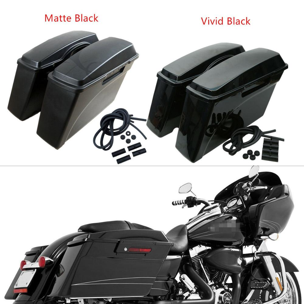 Motorcycle Vivid/Matte Black ABS Saddle Bags Saddlebags For Harley Softail Dyna Sportster Touring Road Glide FLT FLH 94~13