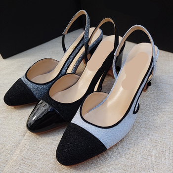 Black Toe Patchwork Women Glitter Pumps Back Strap Slip on Shoes Woman Square Mid Heel Shoes Genuine Leather Wedding High Heels