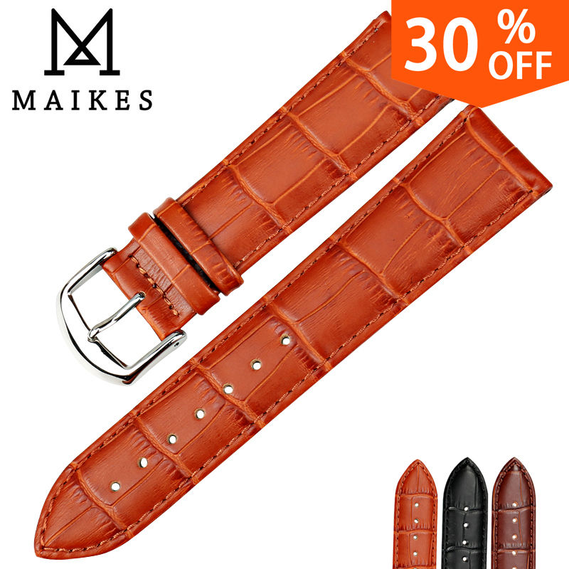 MAIKES HQ watchbands genuine leather strap watch accessories 16mm 18mm 20mm 22mm 24mm men & women brown Watch Band For Casio maikes hq 16 18 20 22 24 mm genuine alligator leather strap watch band brown with pin buckle men watchbands bracelet accessories