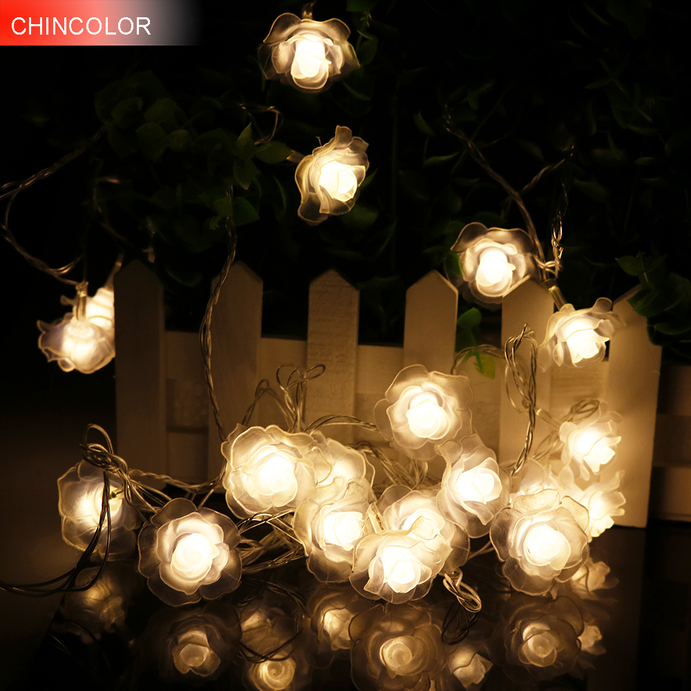 4-5M 20-28Leds Rose LED String Lighting Nightlight Flower EU Plug Or Battery Box Party Wedding Christmas Fairy Decor 2 OptionHQ0