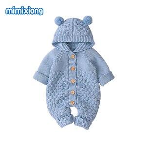 Image 5 - Śpioszki dla niemowląt z dzianiny kreskówka niedźwiedź noworodka chłopiec kombinezony Autum z długim rękawem maluch dziewczyna swetry ubrania dla dzieci kombinezony zimowe