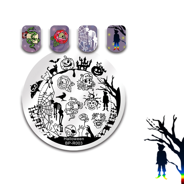 born pretty halloween nail stamping plate skull pumpkin castle round