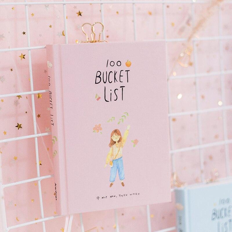 2019 temporada 2 coreano kawaii 100 balde lista de desejos plano para fazer lista bonito flor colorido encaixotado diário planejador escola estacionária a5