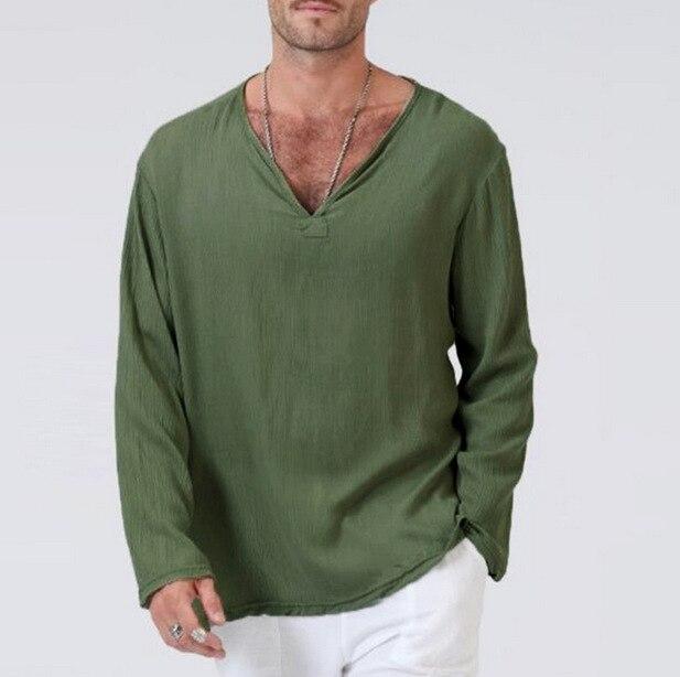 Tops & Tees Padegao Harajuku Linen T Shirt Men Long Sleeve V Neck Solid Top Tees Cotton Breathable Mans T-shirt Streetwear Blouse Plus Size T-shirts