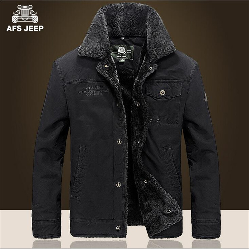 AFS JEEP New Style Winter Thickness Wool Cashmere Coats 100 Cotton Cardigan Loose Cargo Jacket Big