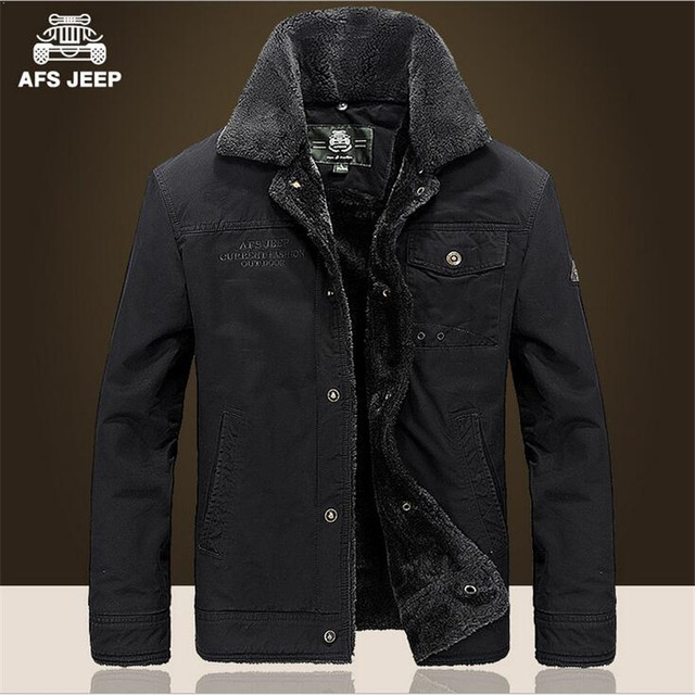 AFS JEEP New Style Winter Thickness Wool&Cashmere Coats,100% Cotton Cardigan Loose Cargo Jacket,Big Turn Down Collar Jackets