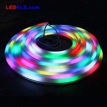 24 В/12 В RGB 60 светодиодов неоновая Светодиодная лента IP68 5 метров Волшебный Цвет цифровой программируемый 5050 Гибкие светодиодные ленты rgbw