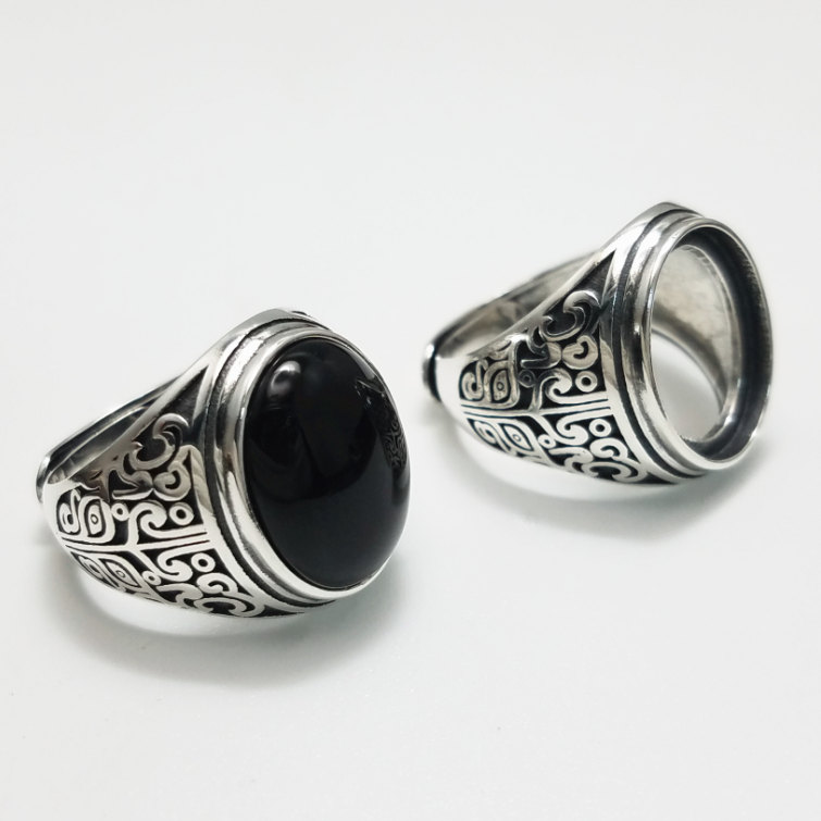 Oval Black Onyx Stone Solid Silver 925 Ring Men Women 100% Real 925 Sterling Silver Cuff Ring Vintage Natural Stone Jewelry Gift bestlybuy vintage ring 100% real 925 sterling silver classic cross natural stone adjustable joint ring women men jewelry