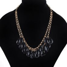 Bohemia Necklace Acrylic Waterdrops Exaggerated Fashion Jewelry Women Girls Crude Chain Lady Personality Collar(China)