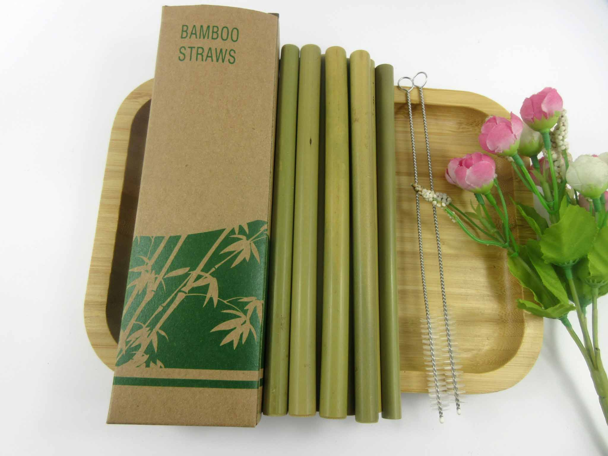 Wholesales 100pcs Eco Friendly Reusable Straw 20cm Green Bamboo Smoothie Straws Pointed Coffee Milk Drinking Straw image