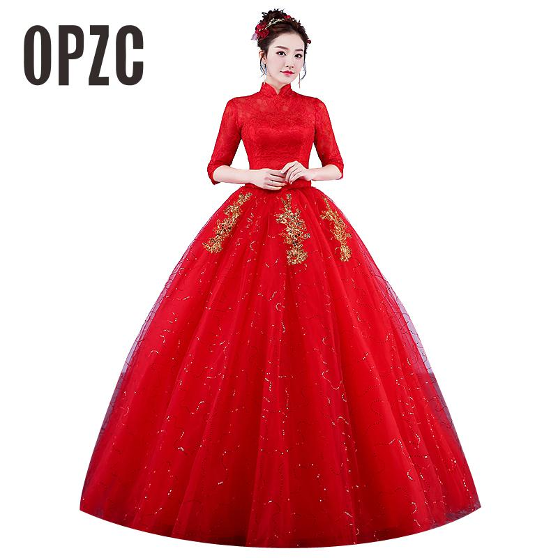 Real Photo Wedding Dresses 2017 High Neck Korean Style Red Romantic Bride Princess Lace with Gold