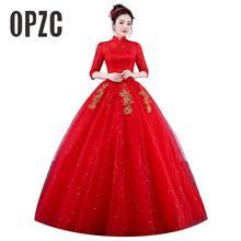 リアルフォトヴィンテージのウェディングドレス 2020 ハイネック韓国スタイル赤ロマンチックな花嫁王女のゴールドレース刺繍 vestido デ · ノビア