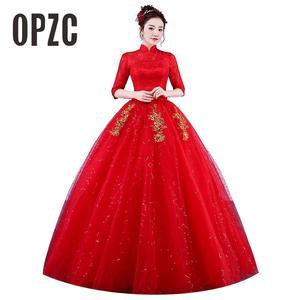 Image 1 - Photo réelle Vintage robes De mariée 2020 col haut Style coréen rouge romantique mariée princesse or dentelle broderie Vestido De Novia